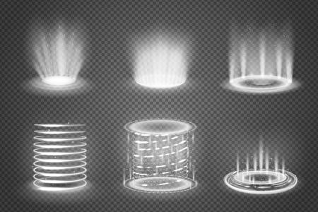 Reeks realistische monochrome magische portalen met lichteffecten op transparante achtergrond geïsoleerde vectorillustratie