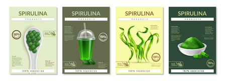 Avantages pour la santé de la spiruline faisant la publicité de 4 dépliants de mini-affiches réalistes avec des suppléments d'algues séchées en poudre pils illustration vectorielle description