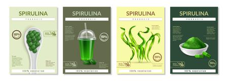 Spirulina-Gesundheitsvorteile, die 4 realistische Miniposter-Broschüren mit getrockneten Algen-Ergänzungspulver-Pils-Vektorillustrationsbeschreibungen bewerben
