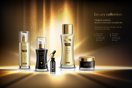 Cosmetics advertising composition with luxury collection original cosmetics intensive renewal for beauty skin description vector illustration