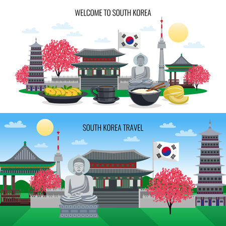 Set of two horizontal south korea tourism banners with doodle style images of sightseeing places buildings vector illustration