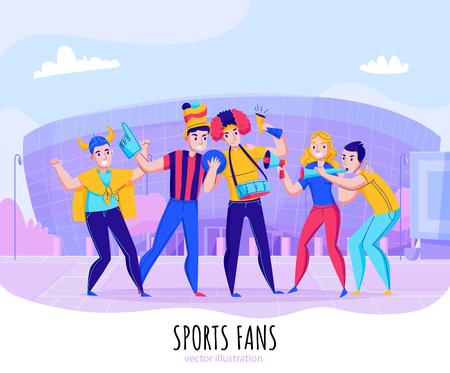 Fans cheering team composition with group of people pose on stadium background vector illustration Illustration