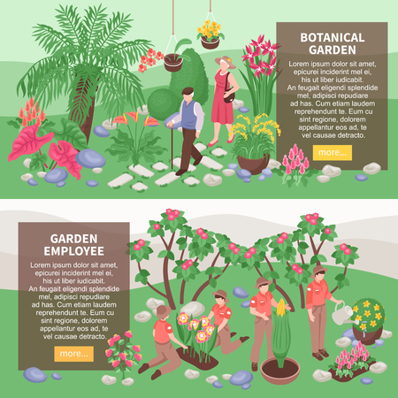 Set of two isometric botanical garden horizontal banners with text description boxes and images of gardeners vector illustration Illustration