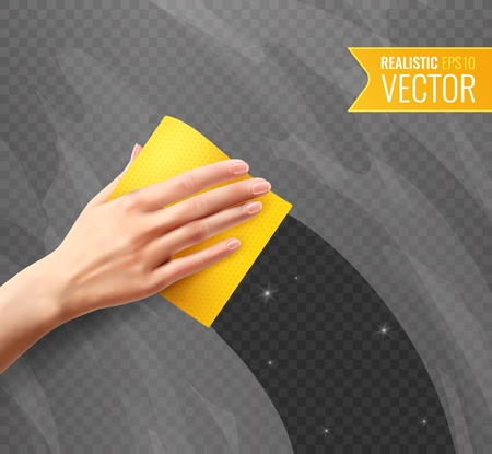 Woman hand wiping dirty glass with yellow napkin transparent background in realistic style vector illustration