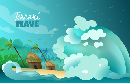 I disastri naturali hanno stilizzato il manifesto variopinto con l'onda colossale dello tsunami che si schianta a terra i bungalow e le palme devastanti illustrazione vettoriale Vettoriali