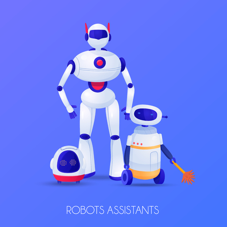 Robots assistants of various shape for different purposes on violet background vector illustration