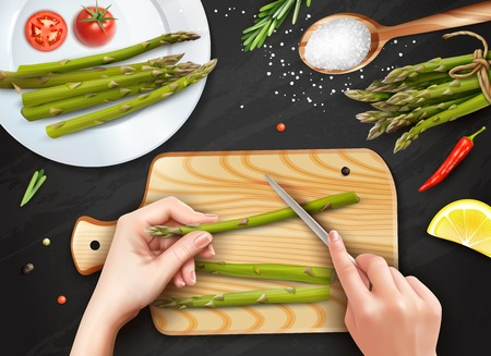 Healthy cooking realistic top view with hands cutting asparagus sea salt tomatoes lemon black background vector illustration