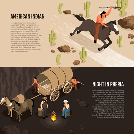 Wild west isometric banners with american indian on horseback and cowboys near camp fire isolated vector illustration