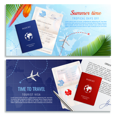 Time to travel realistic banners with mockups of biometric passport  and tourist visa application form realistic vector illustration 向量圖像