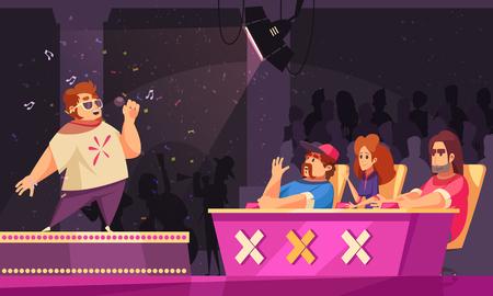 Tv cantando talento show composición de dibujos animados plana con concursante actuando en el podio destacado jurado en el escenario ilustración vectorial
