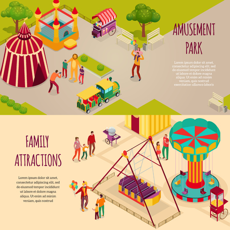 Amusement park circus artists and family attractions set of horizontal isometric banners isolated vector illustration  イラスト・ベクター素材