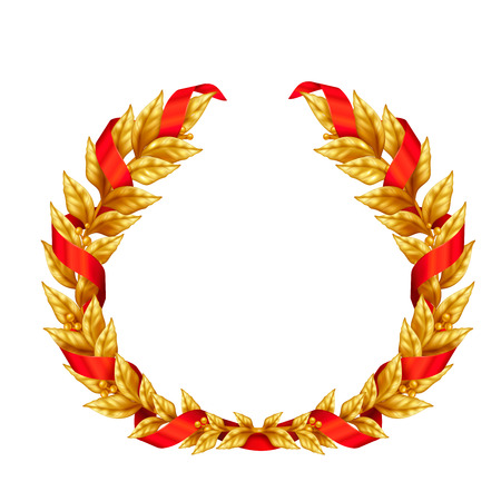 Triumphal golden laurel wreath of winner entwined with red ribbon realistic sign isolated on white background vector Illustration
