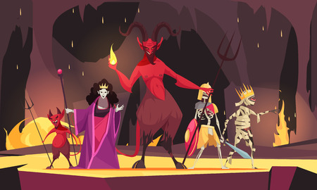 Evil characters cartoon composition with red  demon from hell devil wicked queen dark scary background vector illustration Çizim