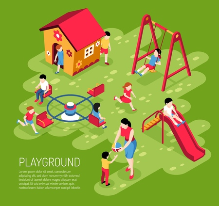 Educator and kids on play ground in kindergarten in summer on green background isometric vector illustration