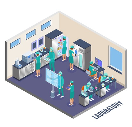 Microbiology isometric composition laboratory room and walls with scientists at the work vector illustration Illustration
