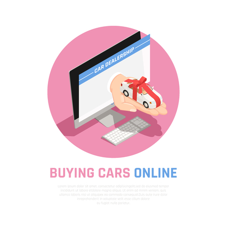 Car dealership concept with buying cars online symbols isometric vector illustration