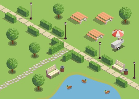 City park recreation area isometric compositions with path pond ducks outdoor furniture lanterns snack vendors vector illustration Stock Illustratie