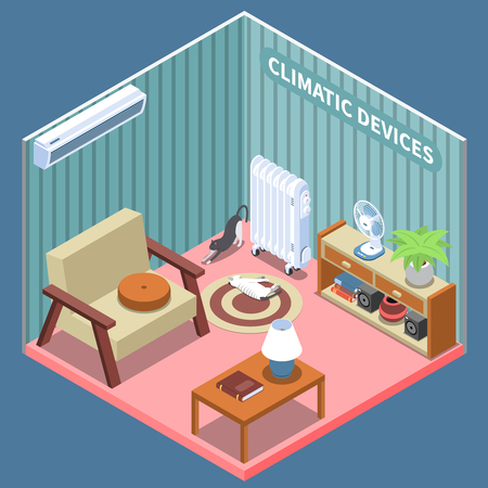 Home climate control isometric composition illustrated living room with furniture and climatic devices vector illustration Фото со стока - 117773270