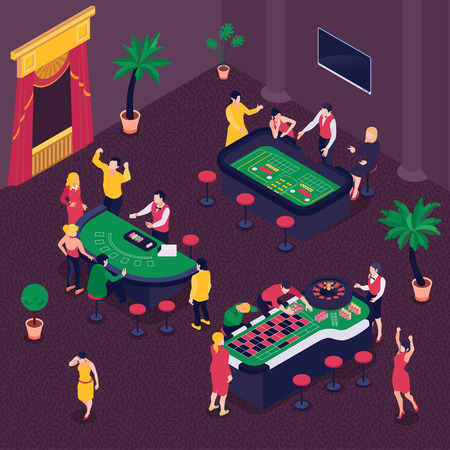 Casino and gambling isometric background with poker and roulette symbols vector illustration Illustration