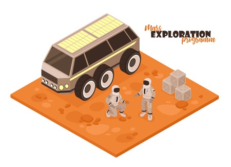 Isometric mars colonization composition on white background with piece of terrain car and astronaut characters vector illustration