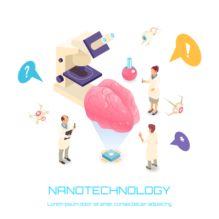 Nanotechnology isometric concept with brain science symbols white background isolated vector illustration