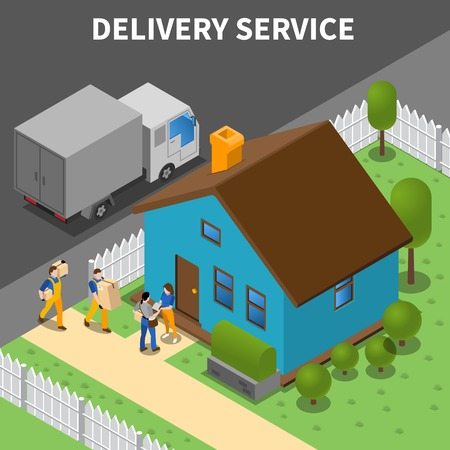 Delivery service isometric background with group of couriers unloading purchases to customers home vector illustration