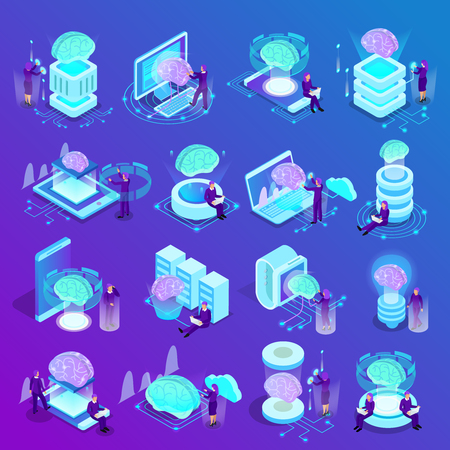 Artificial intelligence isometric icons set of glow brain smart watches cloud computing  machine programming vector illustration