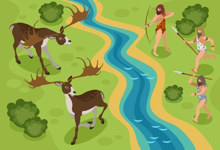 Stone age isometric background with hunting deer symbols vector illustration