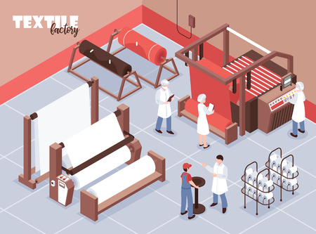 Textile factory staff and various weaving machines 3d isometric vector illustration