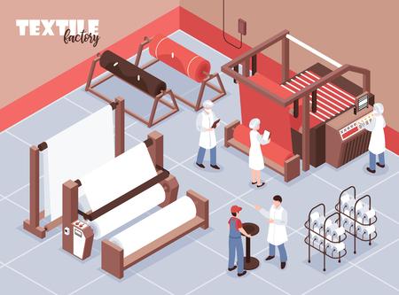 Textilfabrikpersonal und verschiedene Webmaschinen isometrische 3D-Vektorillustration Vektorgrafik