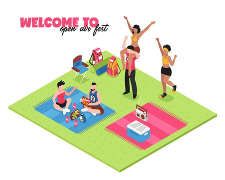 Welcome to open air music fest white background with group of happy young people dancing outdoor isometric vector illustration