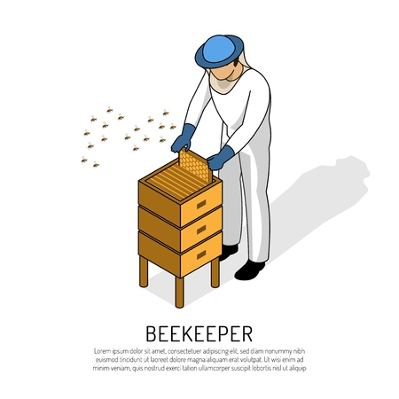 Beekeeper in protective clothing during work with bee hive on white background isometric vector illustration