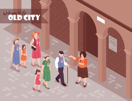 Tourists listening to female guide on excursion around old town 3d isometric vector illustration