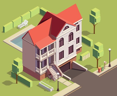 Suburbian buildings isometric composition with outdoor scenery and two-storey living house with yard and trees vector illustration