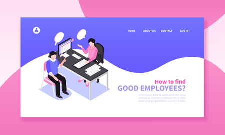 Isometric job search recruitment horizontal banner composition with website page design clickable links and human characters vector illustration