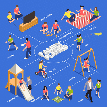Family playing isometric flowchart with recreation symbols vector illustration