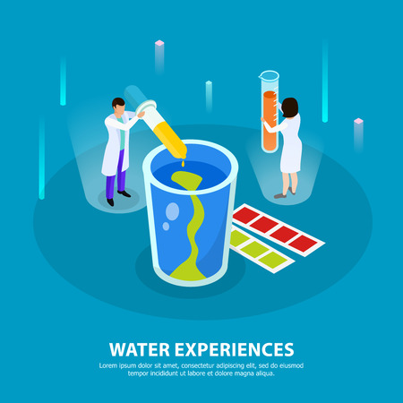 Water purification isometric composition with water experiences headline and two people at the lab vector illustration Illustration