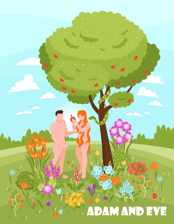 Isometric bible narratives adam and eve vertical background with text and outdoor scenery with people vector illustration