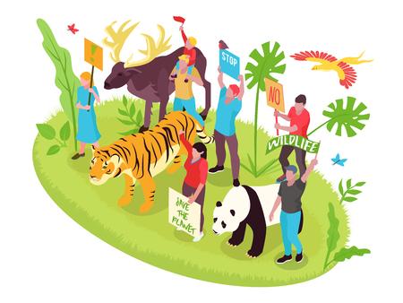 Concepto isométrico de protección de vida silvestre con personas, naturaleza y animales, ilustración vectorial