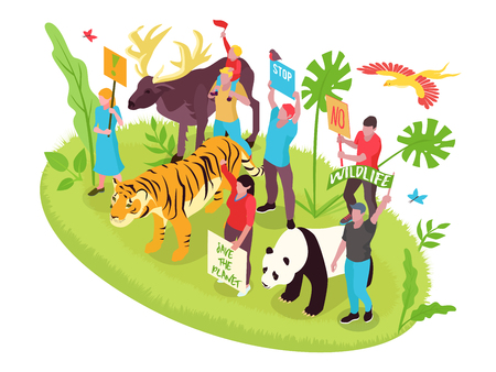 Il concetto isometrico di protezione della fauna selvatica con la natura delle persone e gli animali vector l'illustrazione