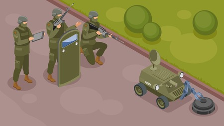 Military robots isometric composition with group of armed warrior supervising work of robot sapper vector illustration