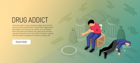 Drug addicts during narcotic injection between garbage containers isometric horizontal banner on yellow green background vector illustration