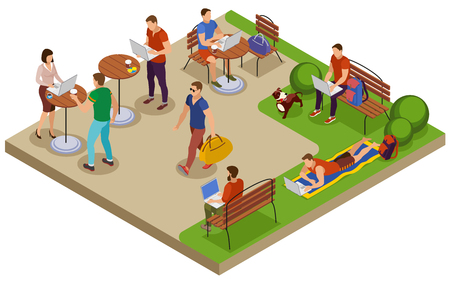 Composizione isometrica tipica di giorno di estate di libero professionista con il posto di lavoro all'aperto nell'illustrazione di vettore della tavola del caffè del prato inglese del parco della città