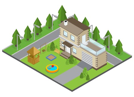 Country building with backyard swimming pool and street isometric vector illustration Illustration