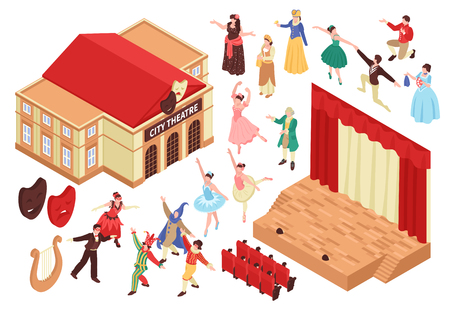 Isometric theatre set with isolated images of theater building stage seats and characters of entertainers vector illustration