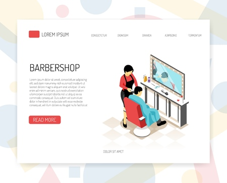 Barber stylist during work isometric concept of web banner with interface elements on white background vector illustration