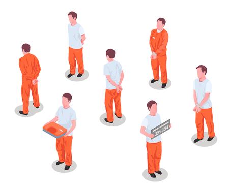 Gefängnisinsassen Kriminelle verhaftet inhaftierte Personen männliche Charaktere in Gefängnishäftlingsuniform isometrischer Satz isolierte Vektorillustration Vektorgrafik