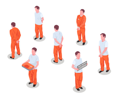 Jail inmates criminals arrested incarcerated persons male characters in prison detainee uniform isometric set isolated vector illustration