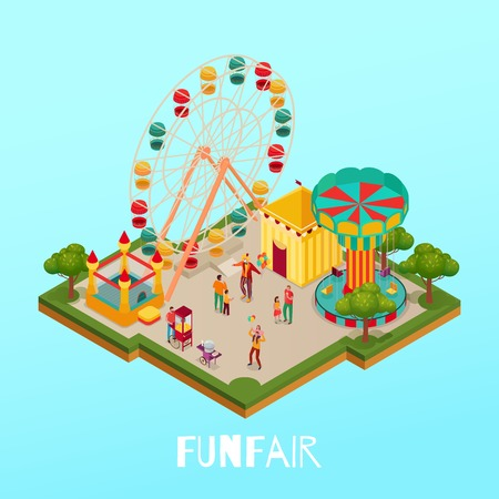Fun fair with visitors circus performance and attractions on blue background isometric vector illustration