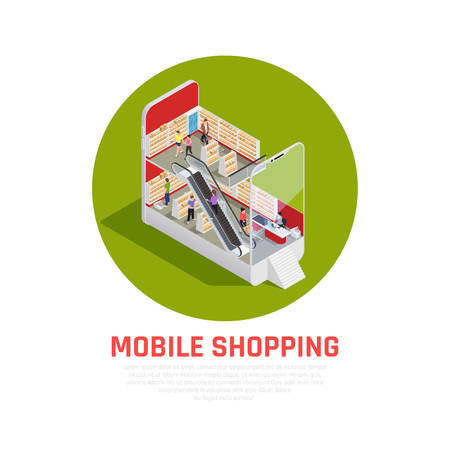 Mobile shopping isometric concept with purchase and ordering symbols isometric vector illustration